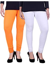 Belmarsh Cotton Blend Churidar Leggings - Pack of 2 (WHT_ORG)