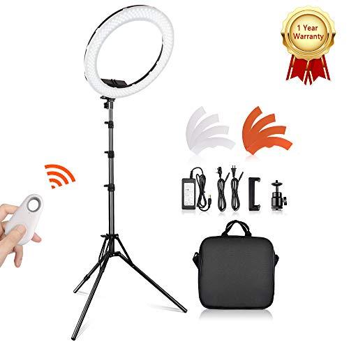 SAMTIAN 18 Zoll Äußere 55W 5500K 240 Dimmbare LED Ringlicht Kit mit verstellbaren 2M Light Stand, Hot Shoe für Kamera und Smartphone für...