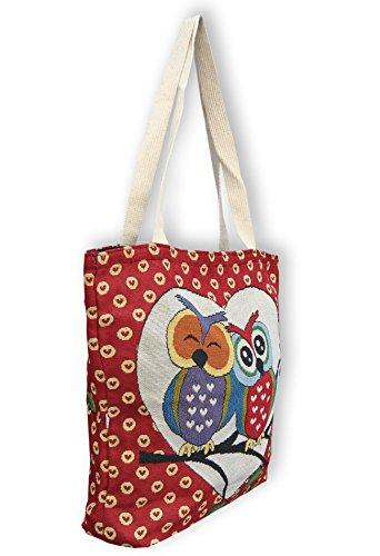 Eule Eulen Tasche Shopper Strandtasche mit Reißverschluss ***verschiedene Motive erhältlich*** Eulenmotiv Shopping bag Umhängetasche Beuteltasche - VINTAGE LOOK / absolut cool und stylish - 42311