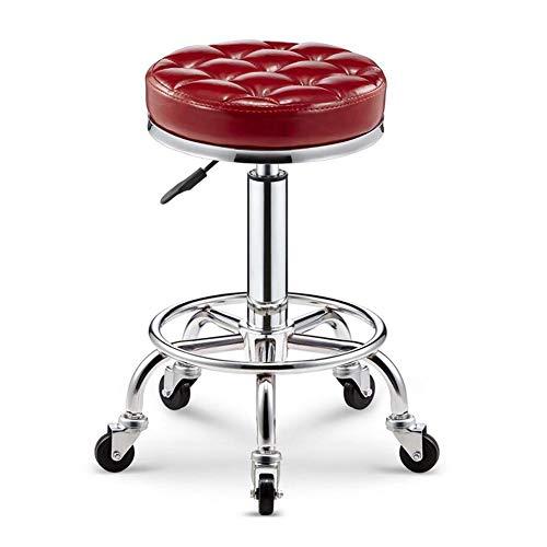 WYYY Bürostuhl Barhocker Runden Salon Massagestuhl Einstellbar Swivel Hydraulic Gaslifthocker Frisuren Schönheit Durable stark (Color : Red) -