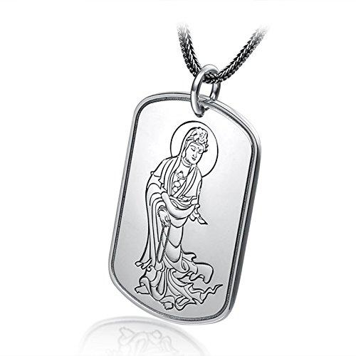 DOLOVE Halskette Gothic Herren Halskette Silber 925 Halskette Herren Buddha Buddhismus Sanskrit Mentra Frauen Halskette Silber Halskette Anhänger Stil 6