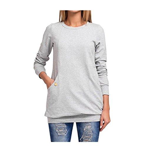 Bekleidung Longra Mode Damen Casual Langarm lose Pocket Pullover Sweatshirt Tops Shirt