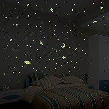 Adhesivos de pared - 150 pegatinas de estrellas y planetas fosforescentes