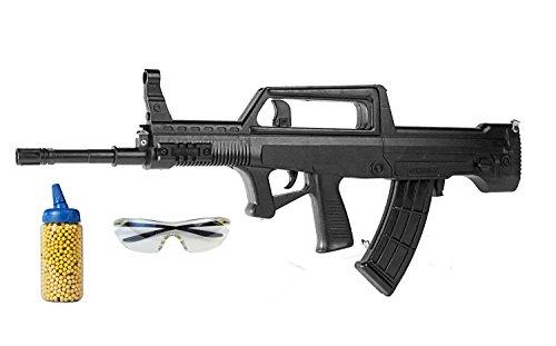 Nick and Ben Softair-Gewehr Set 95T inkl. 500 Kugeln, Tragegurt u. Schutzbrille Maschinen-Gewehr schwarz 6 mm ABS ca. 70 cm Federdruck unter 0,5 Joule ab 14 Jahre -