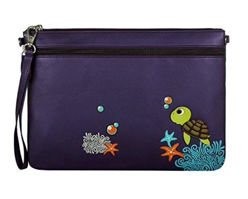 Menkai donna borsa di disegno in rilievo tracolla tartaruga Peacock 767D1 Purple