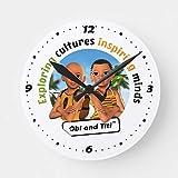 HSSS Offizielle Obi und Titi Adventurer's Dekorative runde Wanduhr aus Holz, 30,5 cm