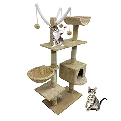 ICOCO 153/90cm Cat Tree Tower Condo Scratcher Furniture Kitten Pet House Hammock Furniture For Pets Kitten House Hammock Cat Tree Tower