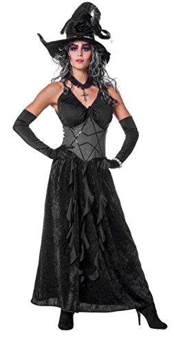 Karneval Klamotten Kostüm Hexe Luxus schwarz Halloween Hexenkostüm Dame Damen-Kostüm Größe (Gruselige Hexe Kostüme)