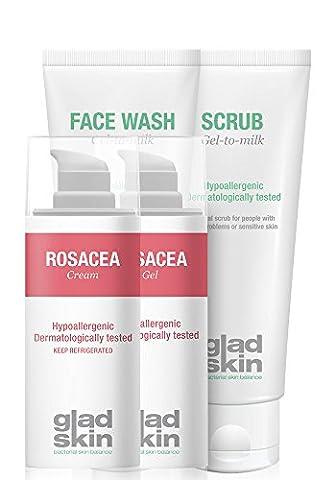Gladskin Rosacea Gel 30ml, Rosacea Cream 30ml, Face Wash 75ml et Scrub 75ml Care Set (pack multi-soin) - réduit et prévient les rougeurs et l'irritation de la peau