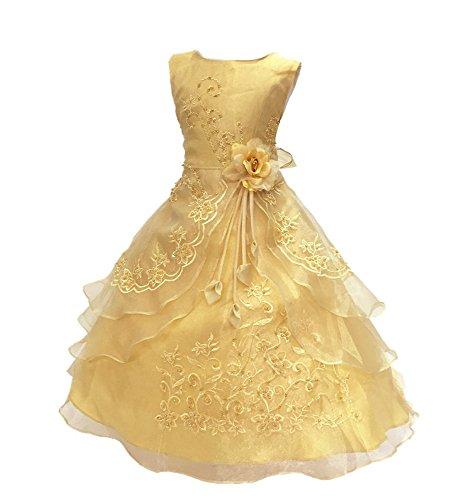 Mädchen Prinzessin Blumenmädchenkleid Party Kleid Brautkleider Wedding Dresses Gold 150