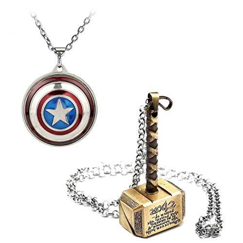 Inestimable Collection Avenger Set Gold-Thor Hammer & Captain America Revolving Schild Metallanhänger mit Kette - America-fahrrad Captain
