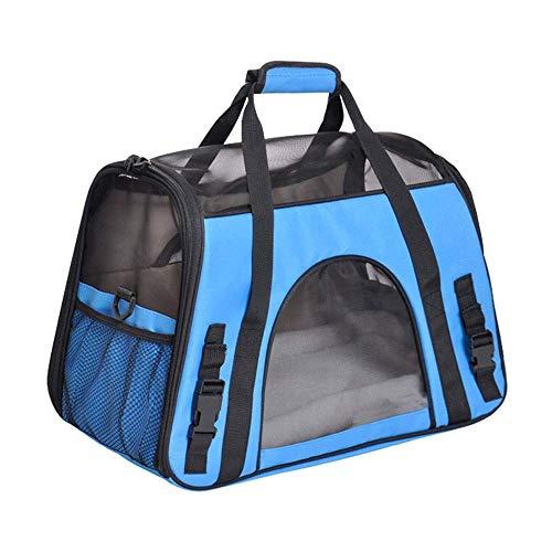 Lcxligang Mode-Haustier-Tragetasche, große Hundekatzen-Reise-Tragetaschen Leichte Faltbare Maschen-weiche Seiten-Hundehütte-Kiste for Katzen (Color : Blue) -