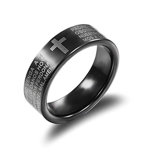 Bishilin Wolframcarbid Ring Herren Schwarz Lord's Prayer mit Gravur mit Kreuz Praying 7mm Größe 57 (18.1)