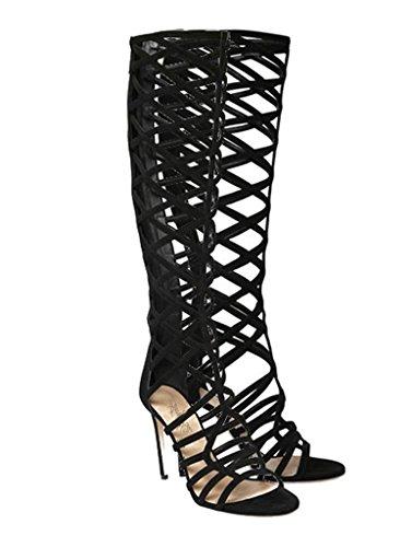 ENMAYER Femmes Open Toe Cover Heel Retour Zipper Fermeture Knee High Gladiator Bottes d'été Strap Design High Heel Punk Sandales Bottes Noir G