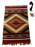 Jaipur indischer Kilim-Teppich, handgefertigt, handgefertigt, 61 x 91 cm, Kilim-Teppich, Ethnischer Kilim-Teppich, Vintage-Teppich, indischer Läufer, dekorativer Überwurf, Jute-Teppich, Kilim-Teppich, Kilim-Teppich, Fransen, Fransen, für Wohnzimmer, handgefertigt, Jute Kilim-Teppich, Ethnischer Jute-Teppich, handgefertigter Kilim-Teppich, handgefertigter Flach