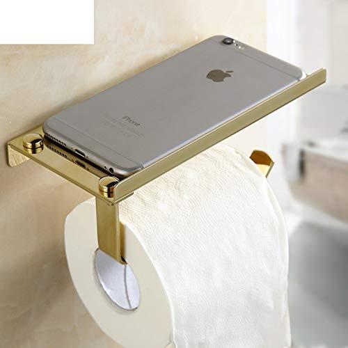 YesDone Serviettenhalter Wandhalterung Toilettenpapierhalter, Edelstahl Bad Tissue Holder Mit Handyablage, Aluminium gebürstet (Farbe : Gold)