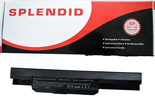 SPLENDID BRANDED - HIGH GRADE - 6 CELL LAPTOP BATTERY FOR ASUS X53U A32-K53 ( BLACK )