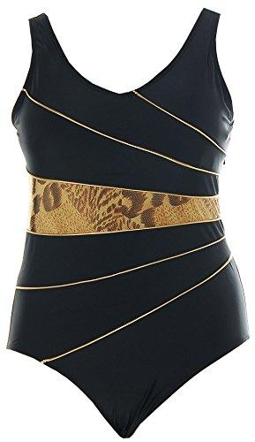Luxus Badeanzüge (EYE-ALPIN® Luxus Badeanzug Schwarz Gold Leo 44 Cup C)