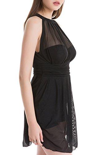 Eleganter Einteiliger Damen Badeanzug mit Röckchen Bandeau Badekleid mit Push Up Effekt Schwimmanzug mit flachem Bauch Schwarz-1