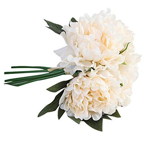 Hlhn, bouquet di fiori finti in seta, con decorazione di peonie e ortensie, per ufficio, casa, scrivania, tavoli da giardino, bouquet per matrimoni e feste all'aperto beige