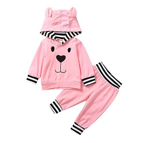Infant Baby Boys Girls Cartoon Pullover Hoodie T-Shirt Tops+Pants Outfits Sets (Leder Jacke Teddy Bär)