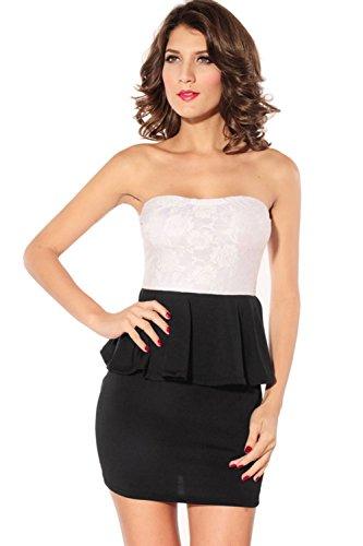 Pinkyee Damen Strandkleid Weiß