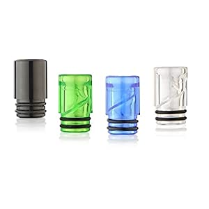 4er Pack Plastic Acryl Kunststoff 510 Drip Tip ROUND, ss, 2 O-Ring [small]