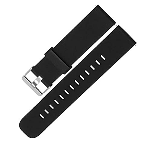 18 20 22 mm Watch Strap Silicone, Quick Release Sport Watch Band with Stainless Steel Buckle, Replacement Soft Rubber Case with Adjustable Metal Clasp, for Men and