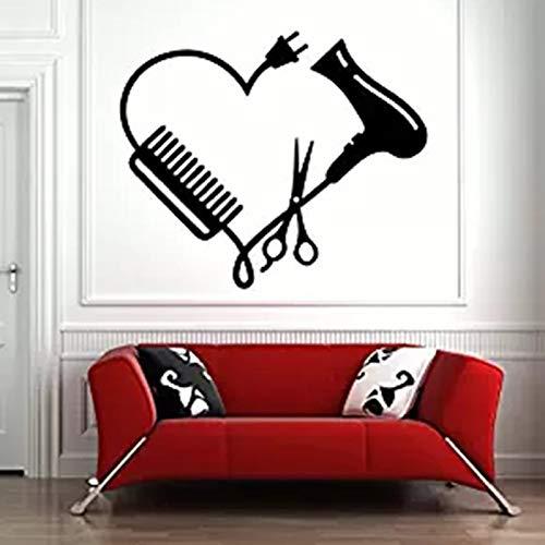 yiyiyaya Friseursalon Zeichen Fenster Dekor Friseursalon Wand Fenster Aufkleber Aufkleber Friseur Haar Werkzeuge Schere Friseur Schönheitssalon 50 * 42 cm
