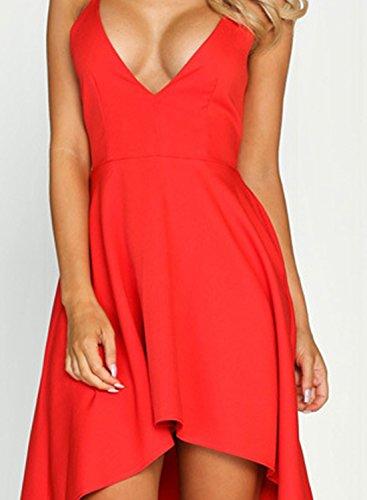 ACHICGIRL Women's Deep V Neck Sleeveless High Low Party Dress Black