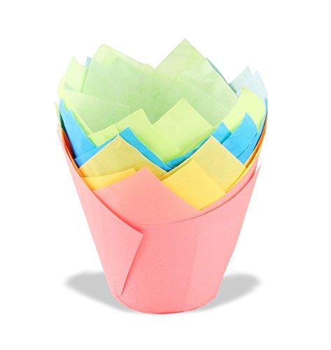 Dr. Oetker Tulips Papier-Backförmchen, bunte Muffinförmchen aus Papier, Förmchen für Cupcakes, Muffins und Pudding - hitzebeständig bis 220°C (Farbe: Rosa, Türkis, Grün, Gelb), Menge: 20 Stück Papier Muffin