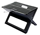 Notebook Folding Grill  Portable Picnic BBQ with Chrome Plated Cooking Grid (Black)