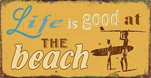 1art1-79883-surfen-life-is-good-at-the-beach-magnetisches-blechschild-magnet-10-x-5-cm