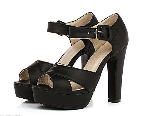 Aisun Femme Mode Peep Toe Plateforme Sandales Avec Boucle Noir