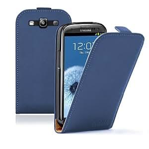 Ultra Slim Azzurro Custodia in Pelle per Samsung Galaxy S3 (GT-i9300 / i9300i S3 Neo / Galaxy SIII Neo+ / GT-i9308) - Flip Case Cover + 2 Pellicola Protettiva