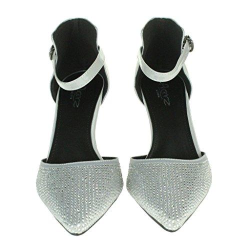 Femmes Dames Sparkly Diamante Soir Mariage Fête Bal de promo Sangle de cheville Milieu Talon Des sandales Chaussures Taille Argent