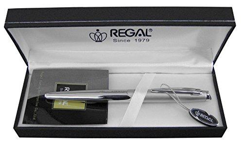 Preisvergleich Produktbild Regal Luxus-Füllfederhalter, Edelstahl, mittelgroße Feder, Geschenk mit Schachtel, silberfarben
