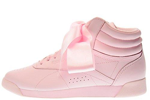 Reebok Freestyle Hi Satin Bow, Sneaker a Collo Alto Donna Rosa(Porcelain Rosa/Skull Grey)
