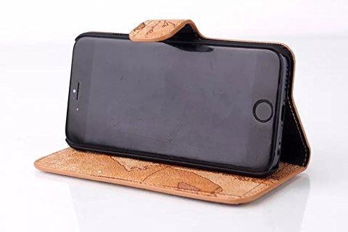 """inShang Hülle für Apple iphone 6 4.7 inch iPhone6 4.7"""", Edles PU Leder Tasche Hülle Skins Etui Schutzhülle Ständer Smart Case Cover für iphone 6 Cell Phone, Handy , Zubehör + inShang Logo hochwertigen Map brown"""