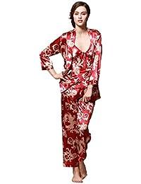 Surenow Albornoz Pijama Bata de Baño para Mujer de Satén