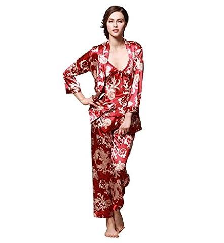 Surenow Womens Satin Luxurious Lightweight Paisley Long Sleeve Pyjamas with Belt Three Piece Set Tank