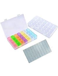 Kunststoff Dosen, Transparente Plastikschachtel mit 28 Fächern, Diamant Stickerei Sortierbox in Stabiler Aufbewahrungbox für Perlen, Nailart, Schmuck Organizer mit Etikette 2er-Pack