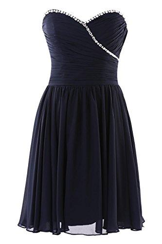 YiYaDawn Kurzes Partykleid Cocktailkleid Brautjungfernkleid für Damen Schwarz