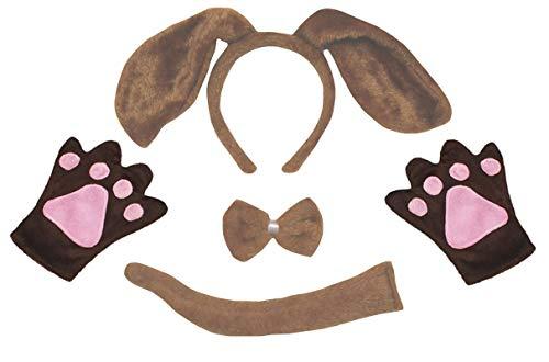 Petitebelle Hund Stirnband Bowtie Schwanz Handschuhe Kinder 4pc Kostüm Einheitsgröße Brauner Hund