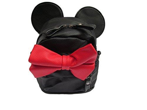 Winzig Unisex Fashion Minnie Mouse Ohren & Rote Schleife student Schule Rucksack - von Fett-Catz-Kopie-Catz (Rot Minnie Ohren)