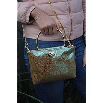 Ein Traum – aqua/goldfarbene Handtasche Lederhandtasche Crossover mit Metallgriffen und Kette