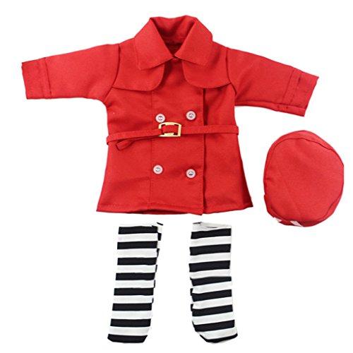 MagiDeal Puppekleidung, Krankenschwester Uniform Set, Puppe Kleidung Anzug für 14 Zoll Mädchen Puppen - Rot (Krankenschwester-uniform-schuhe)
