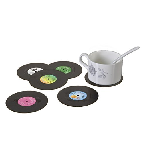 Hxhome 6 PCS Retro CD Record Vinyl Coasters for Coffee