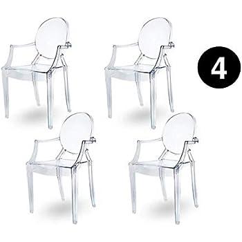 Sedie Trasparenti Con Braccioli.Chairs4you Set Di 4 Sedie Trasparenti Con Braccioli Per Sala Da