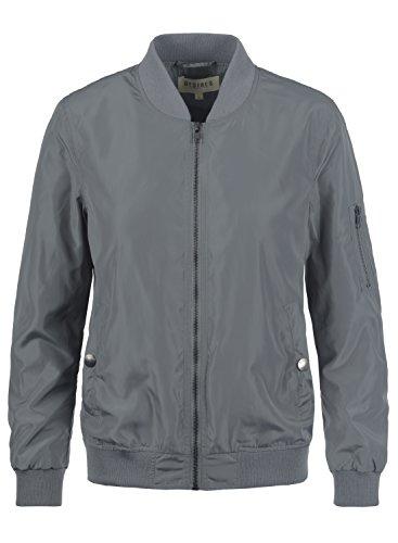 DESIRES Temari Damen Übergangsjacke Bomberjacke mit schmalem Stehkragen, Größe:S, Farbe:Mid Grey (2842)